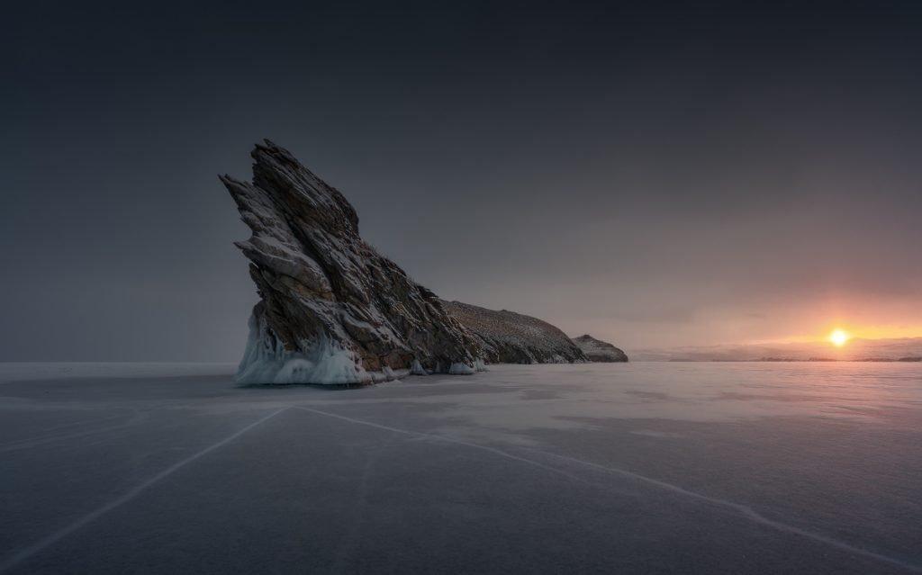 Standing alone at Baikal lake